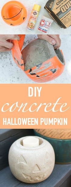 DIY concrete halloween pumpkin — how to make a cement pumpkin with a plastic pumpkin pail and quick drying cement #falldecor #halloweenideas #cement #concrete