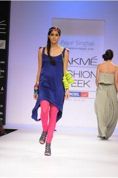 Payal Singhal Indian Wear Collection : COBALT SATIN TUNIC