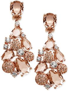 Explore sparkling shape and color with these mosaic-inspired drop earrings from Kaleidoscope. Featuring white and vintage rose crystals made from Swarovski elements. Set in 18k rose gold over sterling silver. Approximate drop: 5/8 inch.