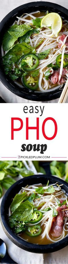 Easy Pho Soup Recipe - Slurp your noodles with abandon in 30 minutes with this Easy Pho Soup Recipe! A quick, satisfying and full-flavor version of Vietnam's national dish. Recipe, Vietnamese food, so (Noodle Soup Recipes) Vietnamese Recipes, Vietnamese Food, Korean Food, Vietnamese Pho Soup Recipe, Beef Pho Soup Recipe, Pho Recipe Easy, Pho Beef, Asian Soup, Cooking Recipes