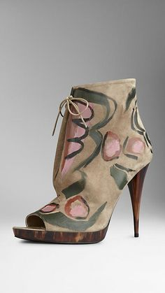 Hand-Painted Suede Ankle Boots   Burberry