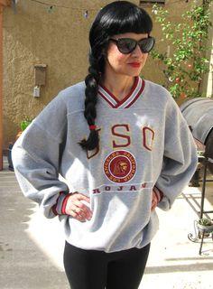 Vintage 90's 1990's Nineties Football Men Women Boyfriend University of Southern California College USC Trojans Sweatshirt 30% OFF SALE on Etsy, $27.99