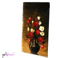 Pictura miniaturala - vaza cu flori