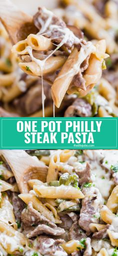 One Pot Philly Steak Pasta has all the great flavor of the famous philly cheese steak sandwiches that we all know and love but in a quick, creamy and cheesy pasta dish that the whole family will love! Steak Sandwich Recipes, Steak Recipes, Steak Sandwiches, Cooking Recipes, Easy Recipes, Philly Cheese Steaks, Philly Cheese Steak Pasta Recipe, Pasta Cheese, Cheese Sauce
