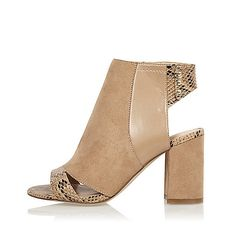 nude print panel wide fit shoe boots by River Island. Faux suede upper Snake print panel Peep toe and open heel Gold press stud fastening Block heel Heeled Mules, Heeled Boots, Bootie Boots, Shoes Sandals, Shoes Sneakers, Heels, Cute Shoes, Me Too Shoes, Nude Boots