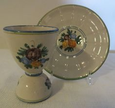Italian Hand Painted Egg Cup & Saucer