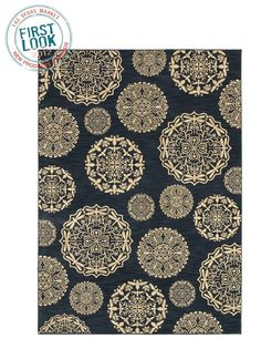 Queen Anne's Lace area rug in navy from Shaw Living. It's made in the United States from recyclable nylon. #lvmkt by heather