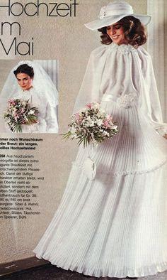 Bridal Wedding Dresses, Wedding Attire, Wedding Bride, Wedding Ideas, Vintage Wedding Photos, Vintage Weddings, 60s And 70s Fashion, Feminine Dress, Dress Patterns