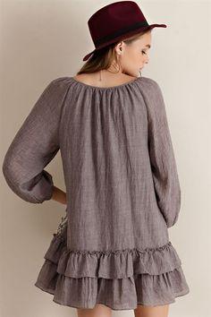 Drop Waist Peasant Dress - Mocha - Knitted Belle Boutique  - 4