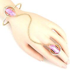 Arras Creations Trendy Fashion Metallic Stone Slave Bracelet, Hand Chain for Women / Slave Bracelet, Ring Bracelet, Bracelets, Hand Chain, Gemstone Rings, Metallic, Fashion Jewelry, Jewels, Bling Bling