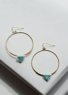 http://ss1.us/a/B156P55w Bermuda hoops; gold hoop earring featuring turquoise triangle stone, boho inspired gold & turquoise earring, light weight hoop dangle earring