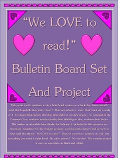 Great reading/writing Valentine's Day bulletin board idea/template with ready-to-use title and accent shapes. Bulletin Board Letters, Library Bulletin Boards, Reading Activities, Activities For Kids, Valentines Day Bulletin Board, School Library Displays, Library Center, Art School, School Stuff