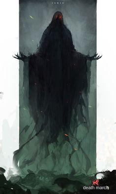 Monster by Ben Juniu on ArtStation Shadow Creatures, Dark Creatures, Fantasy Creatures, Fantasy Kunst, Dark Fantasy Art, Fantasy Artwork, Monster Concept Art, Fantasy Monster, Monster Drawing