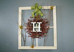 Monogram Spray Wreath on Barn Window / Window by KathyKirchoff, $35.00