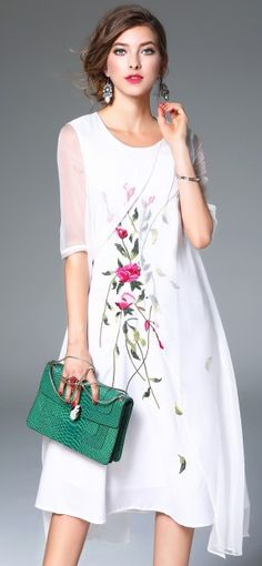 White Silk Floral Embroidery Sheer Half Sleeve A-line Midi Dress