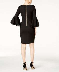 Calvin Klein Bell-Sleeve Sheath Dress, Regular & Petite Sizes - Black 12P