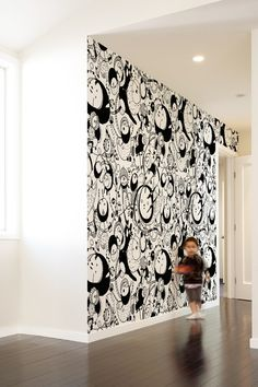 Spaceboys ~ self-adhesive pattern wall tiles by Blik.  non-toxic, PVC phthalate free [ accent wall or ugly built in removable cover-up ]