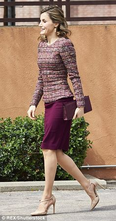 With Spring officially sprung Letizia showcased bare legs for her engagement on Tuesday...