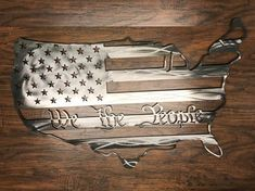 We the People American Flag States Outline Metal Art Sign USA