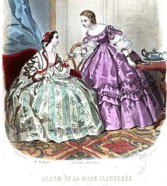 Victorian Era Fashion, 1800s Fashion, 19th Century Fashion, Victorian Women, Vintage Fashion, Mode Vintage Illustration, Civil War Fashion, Jean Délavé, Civil War Dress