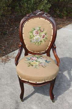 Walnut Victorian Fruit & Nut Carved NeedlePoint Chair