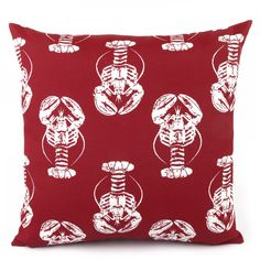 Lobster Season Reversible Red Outdoor Pillow - Chloe & Olive