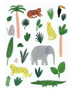 es Gamins is offering a giveaway this week winners will receive one of my Jungle art prints and a 50 gift card code for any of the kids Art And Illustration, Elephant Illustration, Animal Illustrations, Kids Prints, Art Prints, Kate Pugsley, Molduras Vintage, Jungle Art, Art For Kids