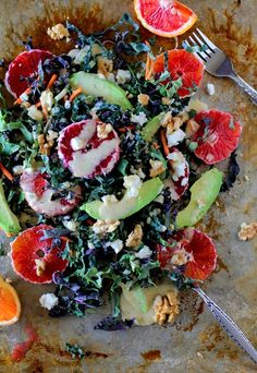 Kale Salad with Blood Oranges, Avocado, Goat Cheese, Walnuts, and Kombucha Vinaigrette