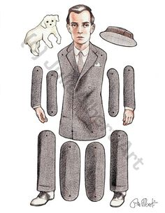 Paper Doll Buster Keaton Articulated Art Doll on Card Stock. $15.00, via Etsy.