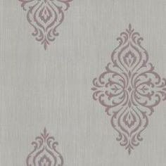 Brewster 495-69027 Powell Mauve Damask Medallion Wallpaper