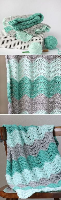 Jessica | Crochet Designs: FEATHER AND FAN BABY BLANKET CROCHET PATTERN ~ looove the colour combo - peaceful!