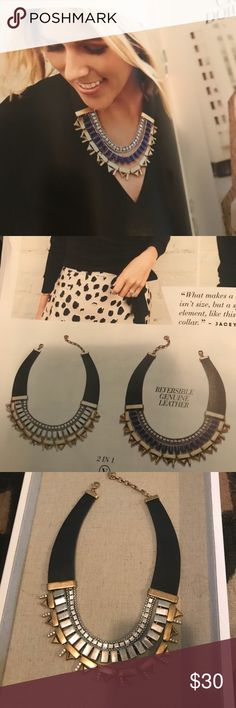 Stella and Dot Natalie Necklace Make a statement with this Beautiful reversible collar necklace by Stella and Dot.  genuine leather collar. Gently used at Trunk Shows Stella & Dot Jewelry Necklaces