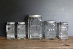 Art Deco Kitchen Canisters Set of 5 by CanalSideStudio on Etsy, Art Deco Kitchen, Kitchen Display, Vintage Kitchen, Kitchen Storage, Kitchen Ideas, Kitchen Canister Sets, Spice Set, Bohemian Kitchen, Vintage Canisters