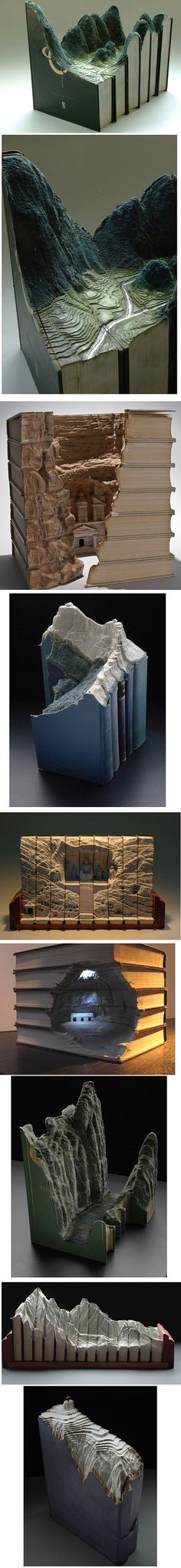 Book carving art Jason my book reading son would love this topographical book collection ! Just amazing.