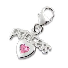 Princess Heart Real Sterling Silver Clip On Charm