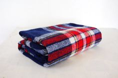 Vintage Tartan Blue and Red Wool Blend Blanket by MansfieldAve
