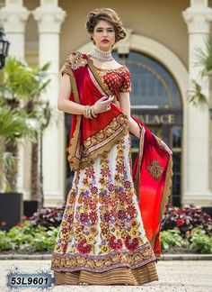 Bring in your fabulous looks with this Multicolor Designer Lehenga Choli avatar! The awesome Embroidery with Jardoshi & heavy hand work on the borders of the Lehenga says it all.