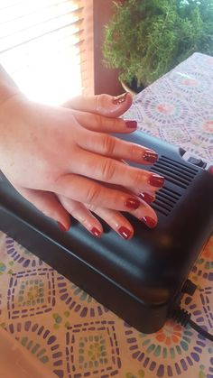 Ox blood mani with fun accent nail