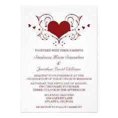Heart Flourish Wedding Invitation, Red #hearts #swirls #wedding