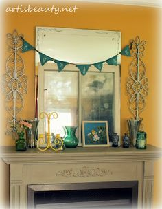 #artisbeauty.net SPRING MANTLE MAKEOVER   home made bunting, mercury glass