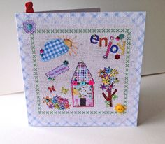 Birthday Card,Printed Applique Design, Hand Finished Greeting Card £1.95