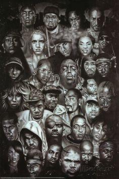 Rap Gods (Rapper Collage) Music Poster Print Pôster