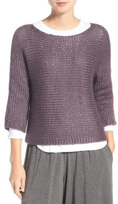 Eileen Fisher Ballet Neck Silk Blend Sweater