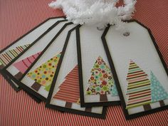 Christmas gift tags.  Love the patterned trees.
