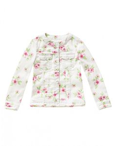 """Cotton blend crew neck jacket with floral print. Long sleeves and two patch pockets at chest with flap closed with button. All the jacket's buttons are snap buttons with Benetton logo and visible stitches liven up the surface<br>This garment features a """"D Colors Of Benetton, Floral Jacket, Padded Jacket, Jacket Buttons, Crew Neck, Floral Prints, Denim, Elegant, Coat"""