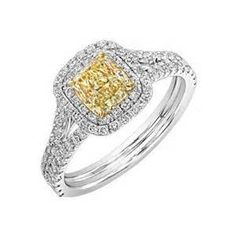 Yellow Diamond Double Halo Engagement Ring