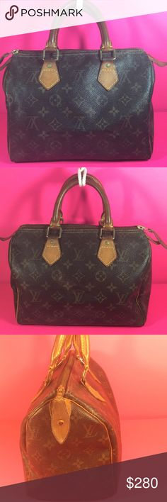 Authentic Louis Vuitton Speedy 25 Satchel The canvas in good condition. Handles & leather trims showed wearing. Inside clean. Dimension 10, 8.5 & 6. Made in France. No trade please! Louis Vuitton Bags Satchels