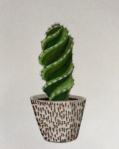1,271 vind-ik-leuks, 30 reacties - ♡ Plants & Illustrations ♡ (@drawingplantlady) op Instagram: 'Cereus forbesii spiralis drawing '