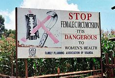 Road sign near Kapchorwa, Uganda, where FGM is outlawed but still practised by the Pokot, Sabiny and Tepeth people