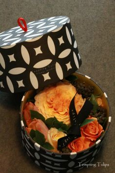 Valentine's Day Flower Box Design by Tempting Tulips - Peach and Orange styling
